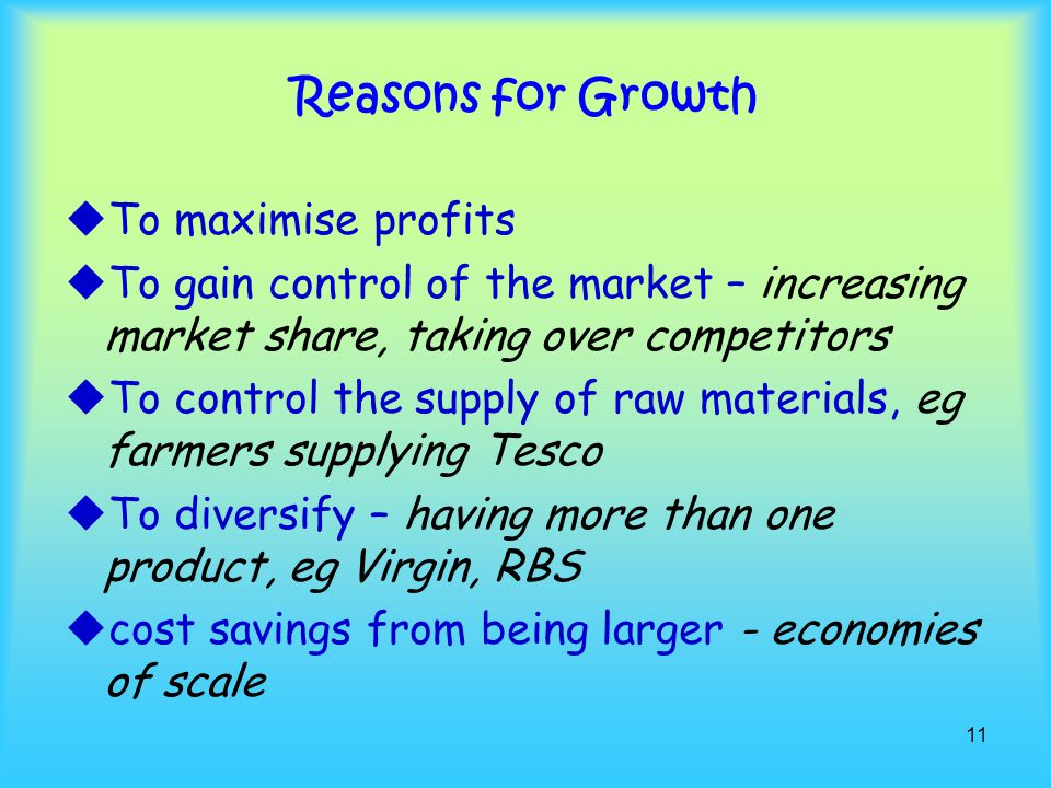 Reasons for Growth To maximise profits