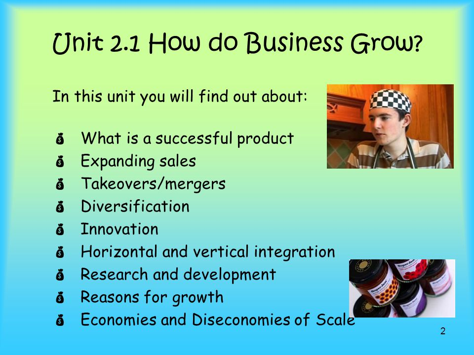 Unit 2.1 How do Business Grow