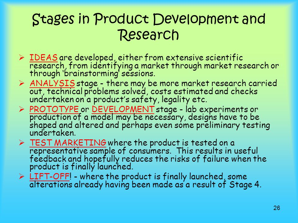 Stages in Product Development and Research