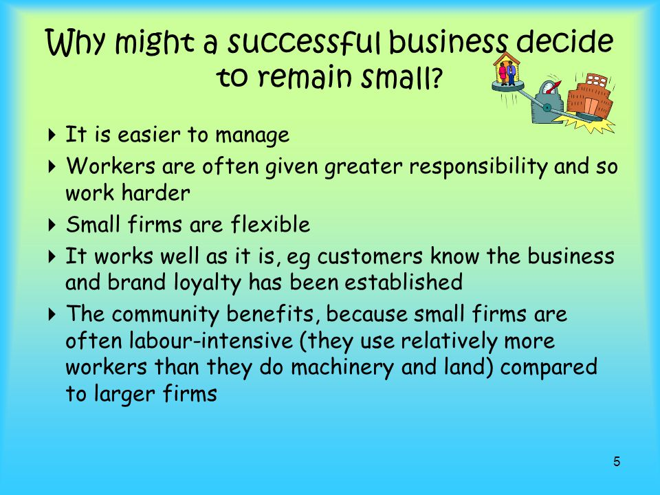 Why might a successful business decide to remain small