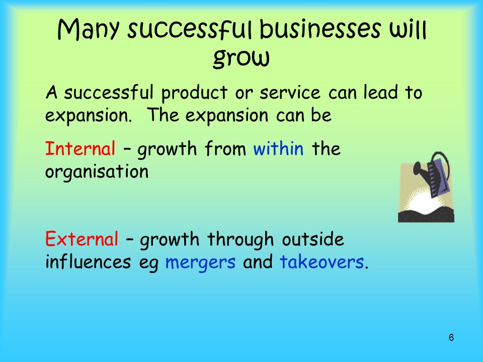 Many successful businesses will grow