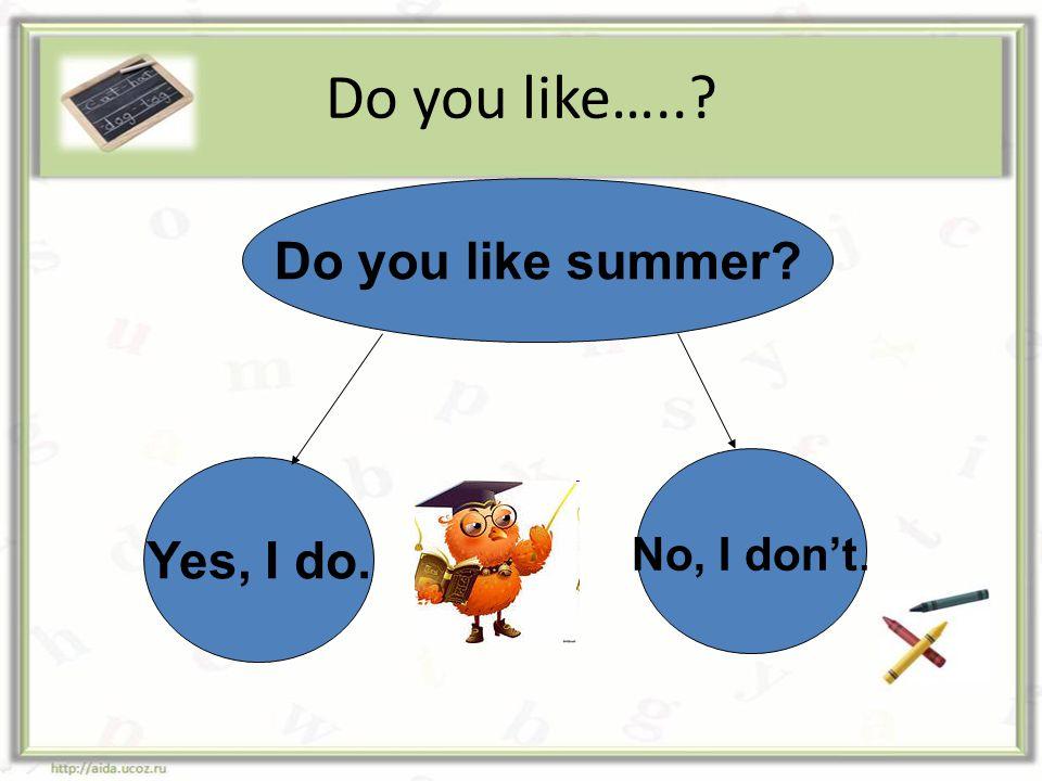 Do you like….. Do you like summer No, I don't. Yes, I do.