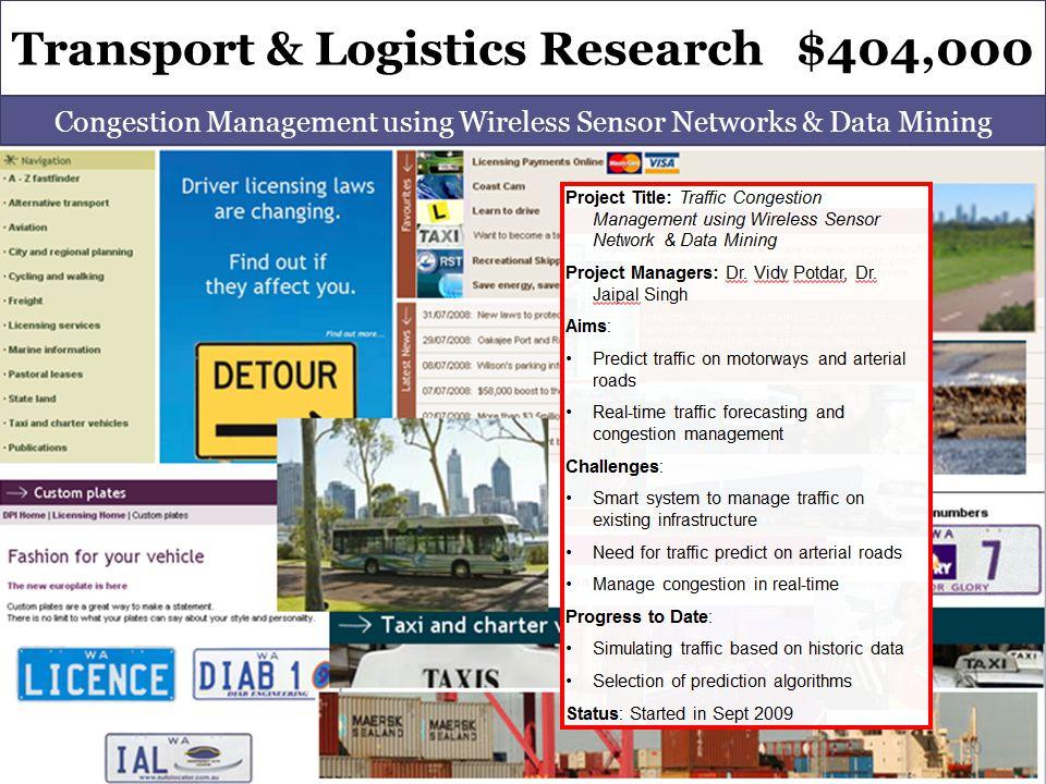 Transport & Logistics Research $404,000