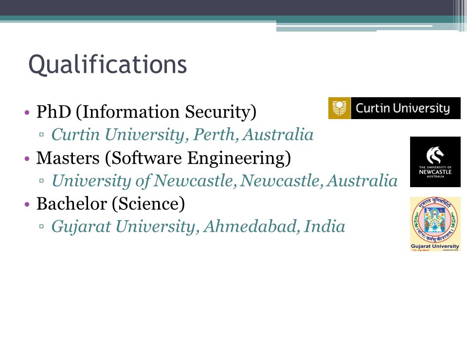 Qualifications PhD (Information Security)