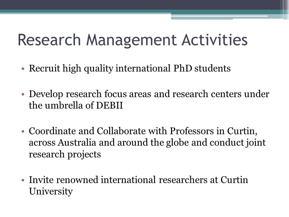 Research Management Activities