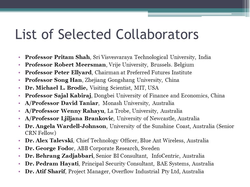 List of Selected Collaborators