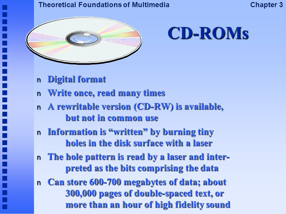 CD-ROMs Digital format Write once, read many times