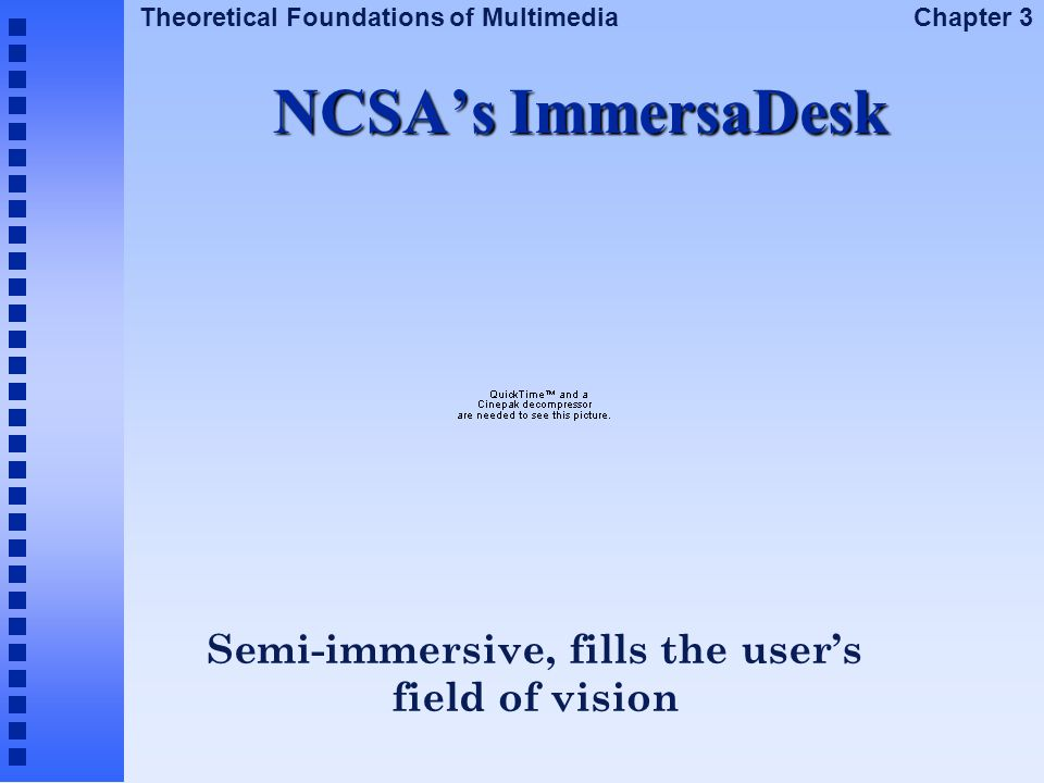 Semi-immersive, fills the user's field of vision