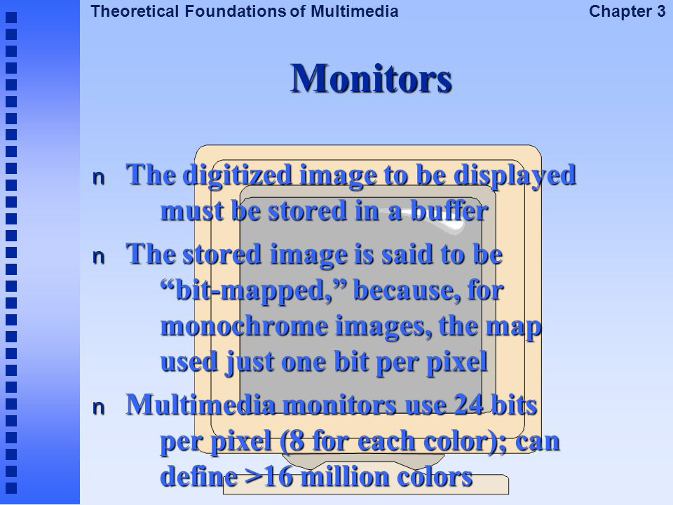 Monitors The digitized image to be displayed must be stored in a buffer.