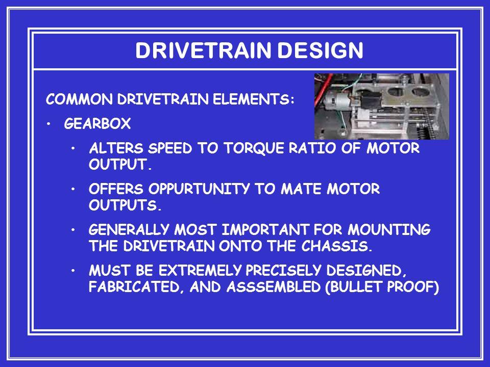 DRIVETRAIN DESIGN COMMON DRIVETRAIN ELEMENTS: GEARBOX