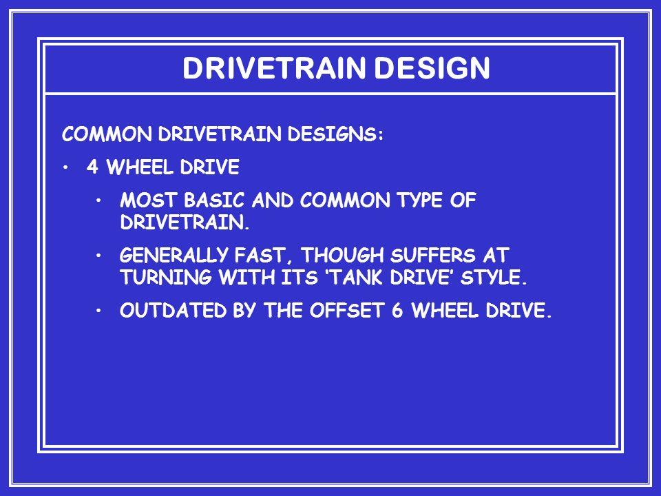 DRIVETRAIN DESIGN COMMON DRIVETRAIN DESIGNS: 4 WHEEL DRIVE