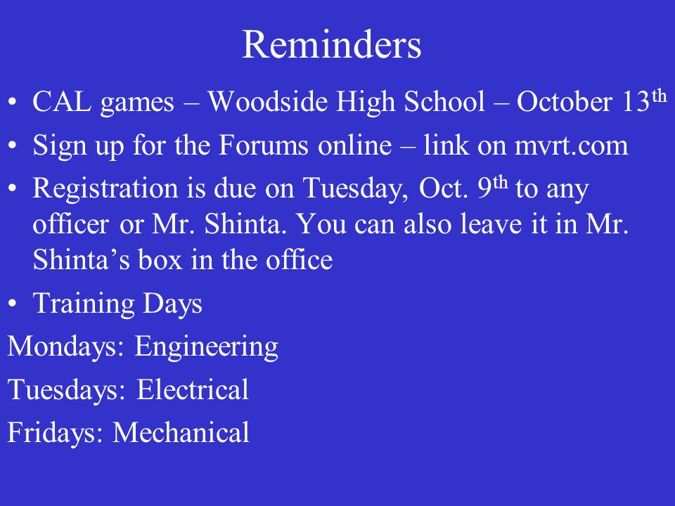 Reminders CAL games – Woodside High School – October 13th