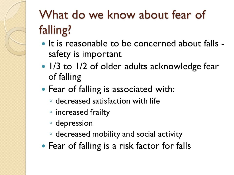 What do we know about fear of falling