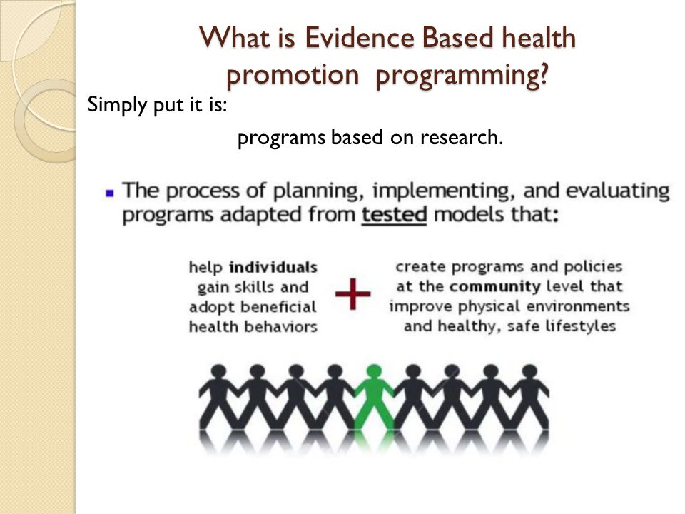 What is Evidence Based health promotion programming