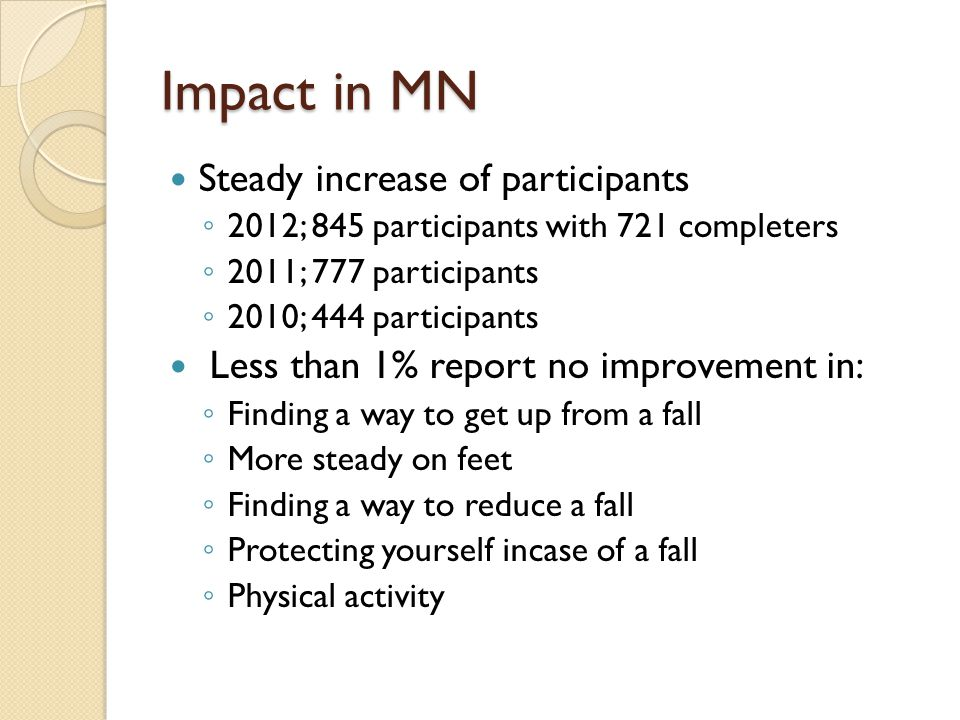 Impact in MN Steady increase of participants