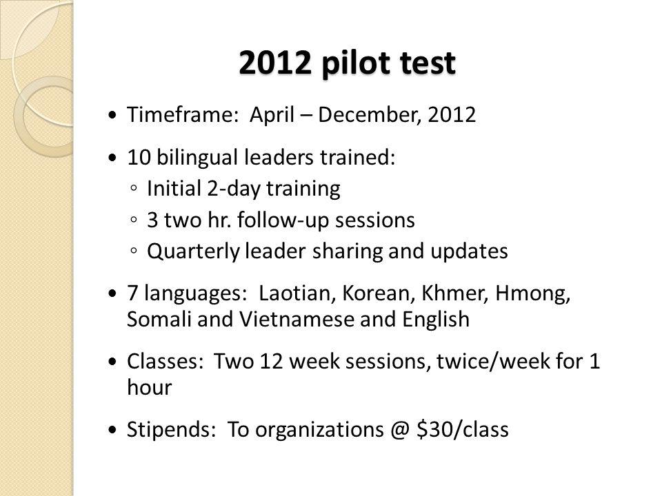 2012 pilot test Timeframe: April – December, 2012