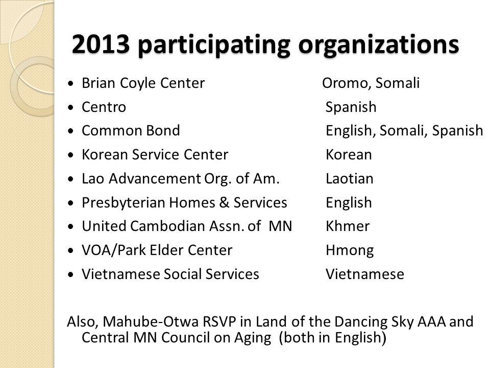 2013 participating organizations