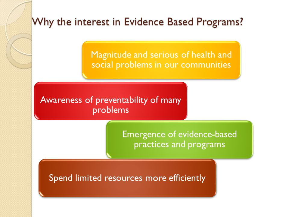 Why the interest in Evidence Based Programs