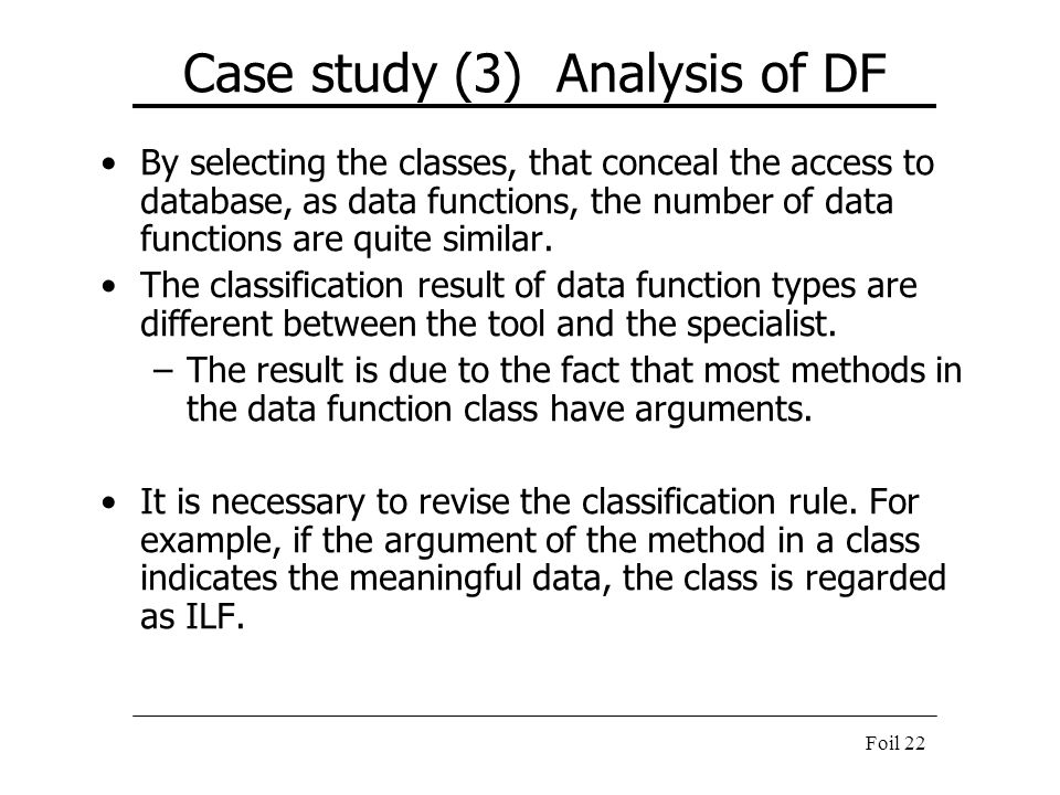 Case study (3) Analysis of DF