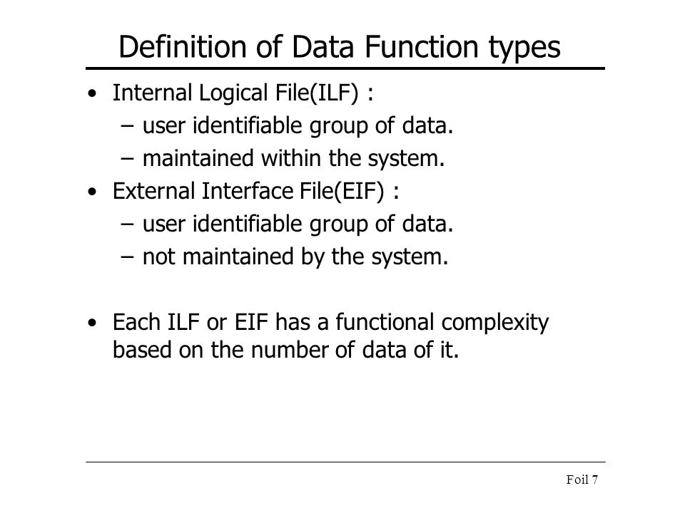 Definition of Data Function types