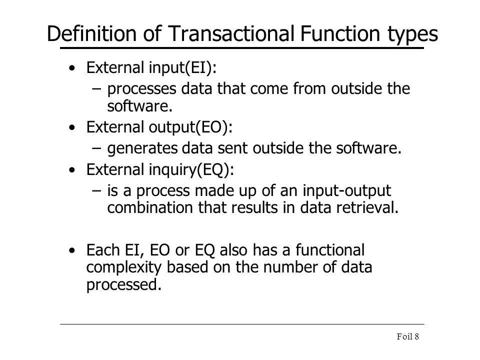 Definition of Transactional Function types