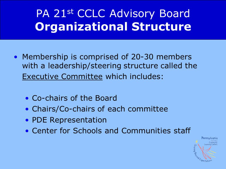 PA 21st CCLC Advisory Board Organizational Structure