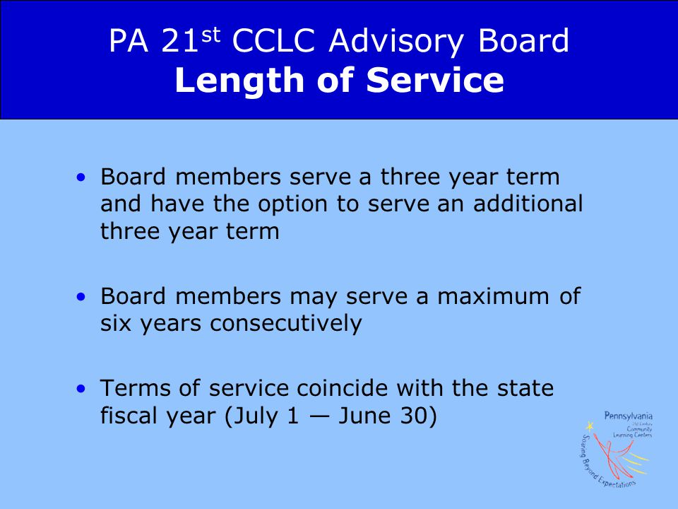 PA 21st CCLC Advisory Board Length of Service