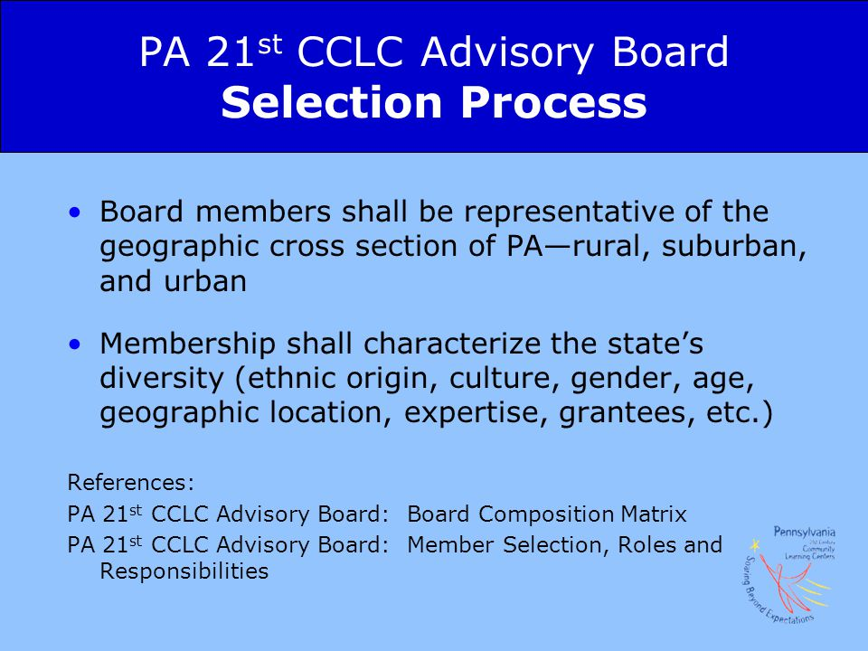 PA 21st CCLC Advisory Board Selection Process