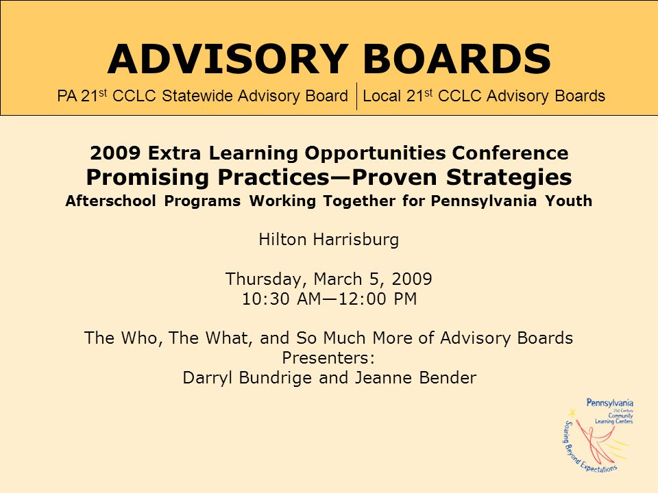 ADVISORY BOARDS Promising Practices—Proven Strategies