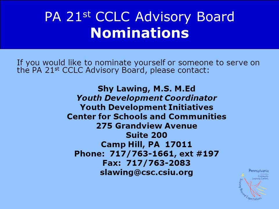 PA 21st CCLC Advisory Board Nominations