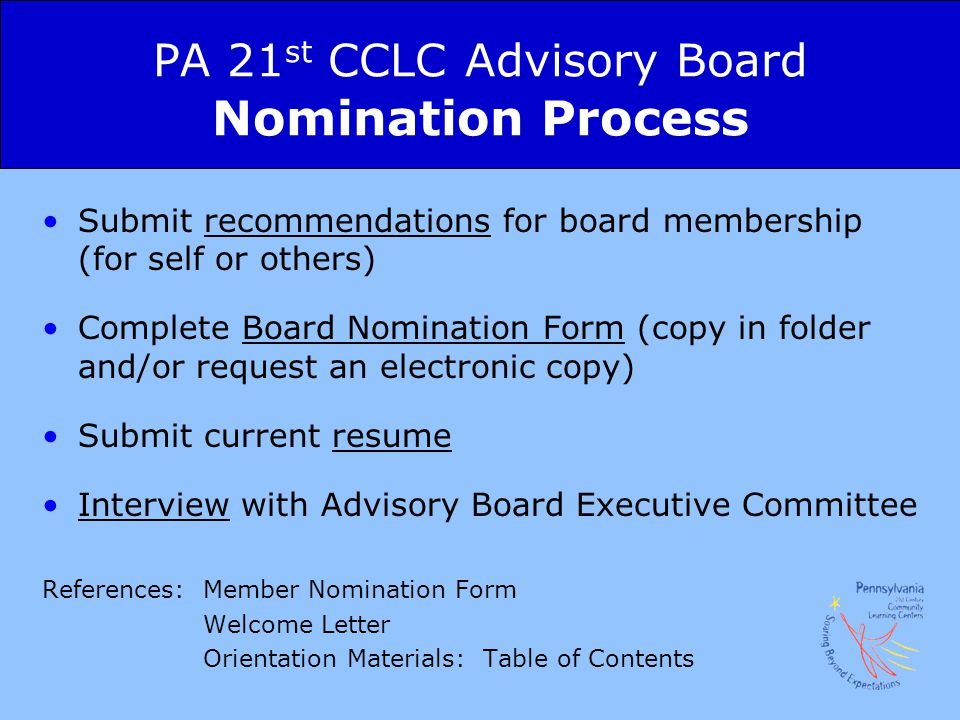 PA 21st CCLC Advisory Board Nomination Process