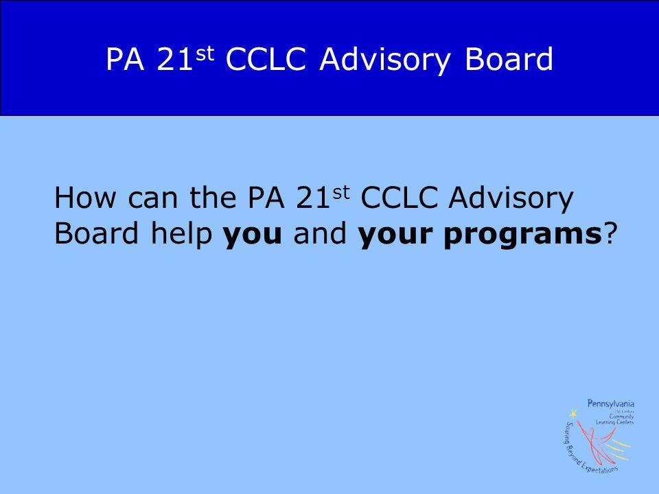 PA 21st CCLC Advisory Board