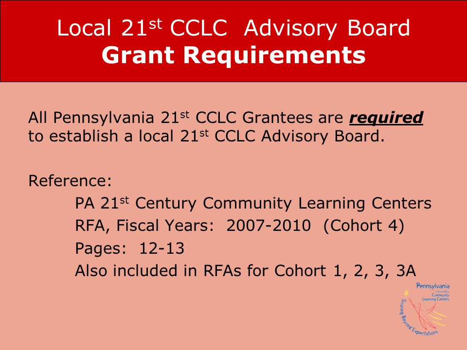 Local 21st CCLC Advisory Board Grant Requirements
