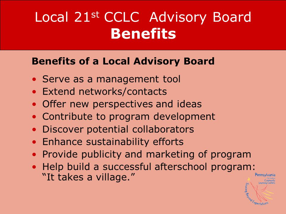 Local 21st CCLC Advisory Board Benefits