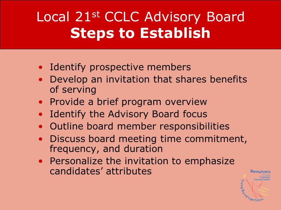 Local 21st CCLC Advisory Board Steps to Establish