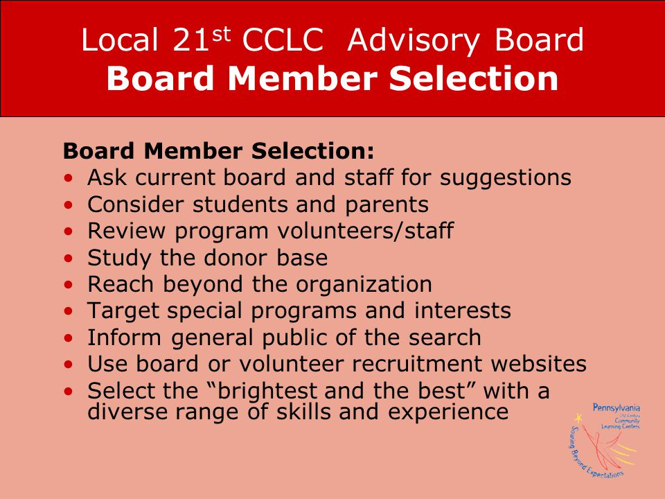 Local 21st CCLC Advisory Board Board Member Selection