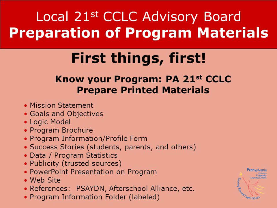 Local 21st CCLC Advisory Board Preparation of Program Materials