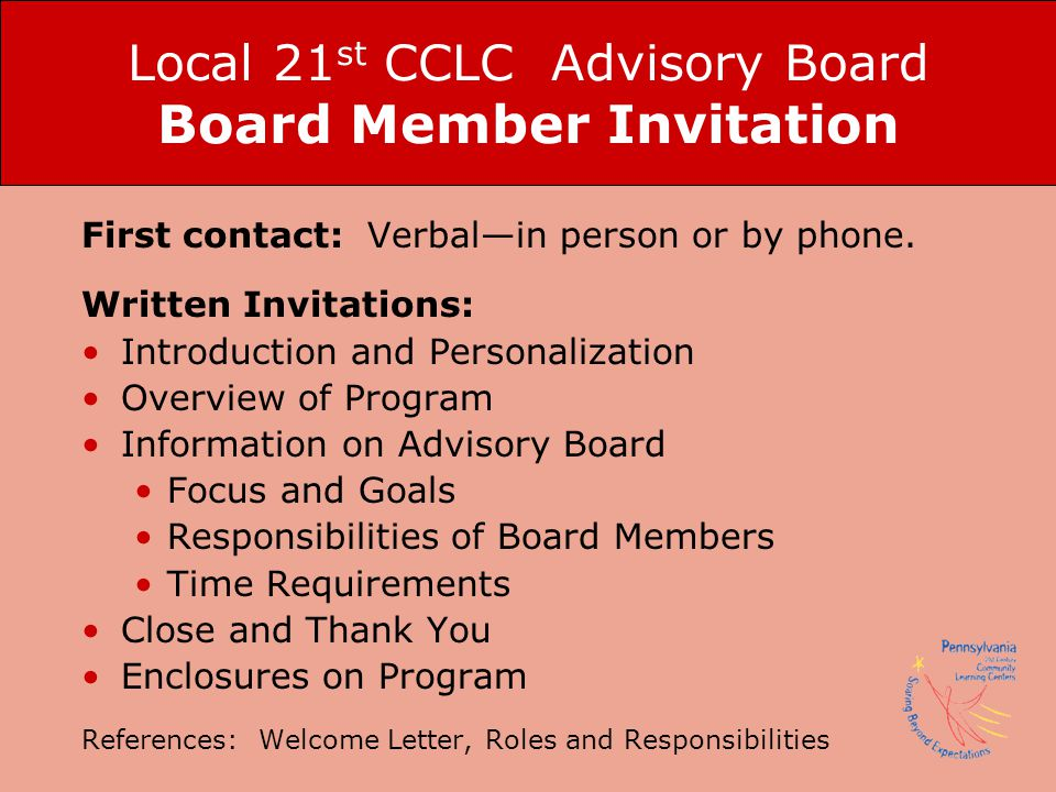 Local 21st CCLC Advisory Board Board Member Invitation