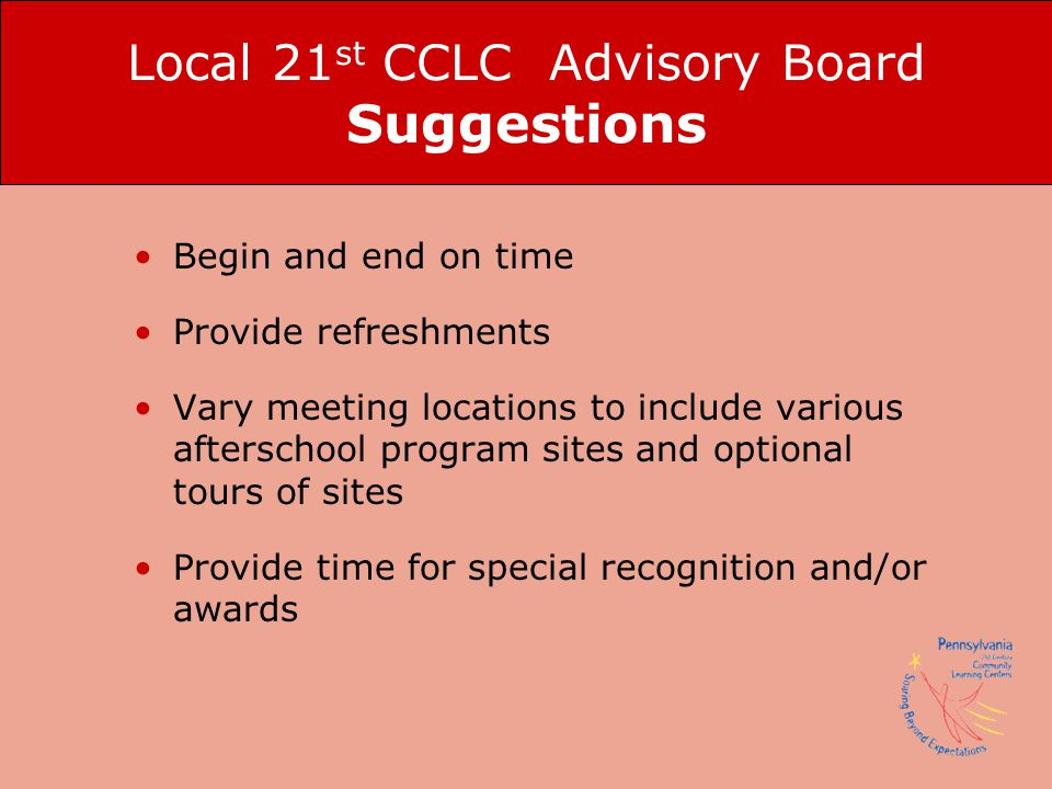 Local 21st CCLC Advisory Board Suggestions