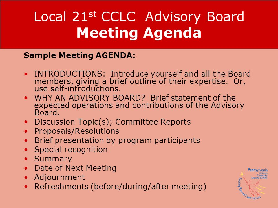 Local 21st CCLC Advisory Board Meeting Agenda