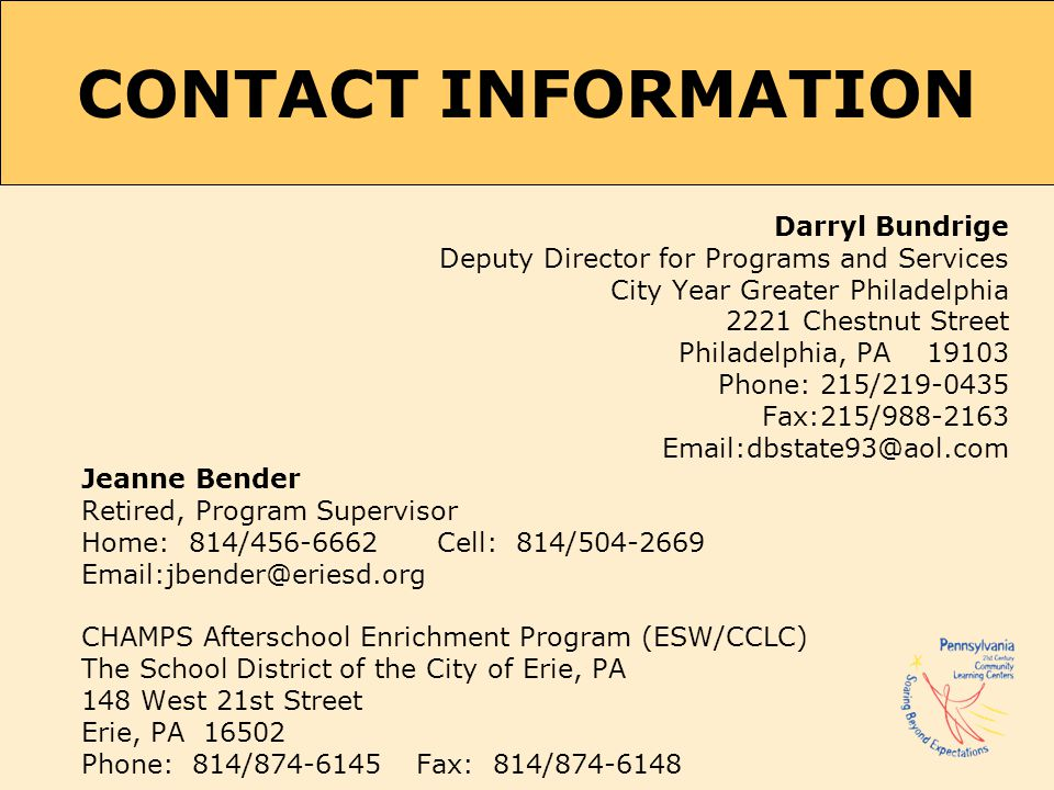 CONTACT INFORMATION Darryl Bundrige. Deputy Director for Programs and Services. City Year Greater Philadelphia.