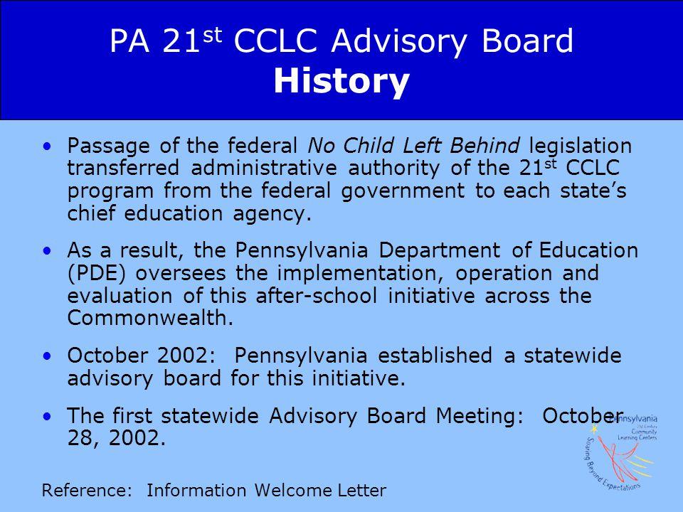 PA 21st CCLC Advisory Board History
