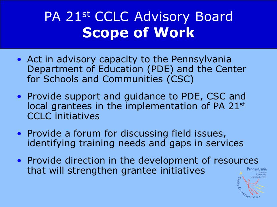 PA 21st CCLC Advisory Board Scope of Work