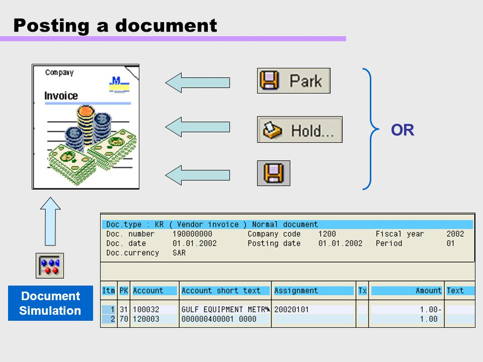 Posting a document OR Document Simulation