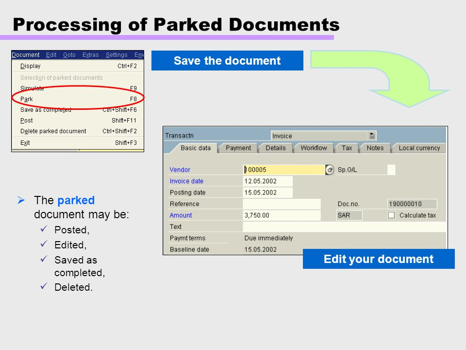 Processing of Parked Documents