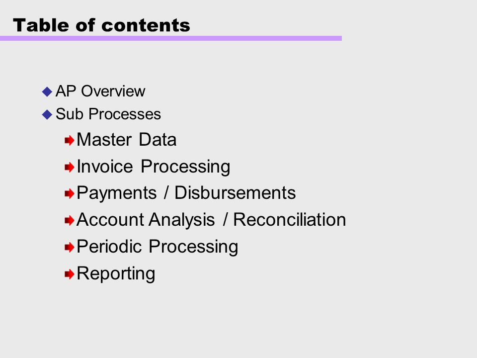 Payments / Disbursements Account Analysis / Reconciliation