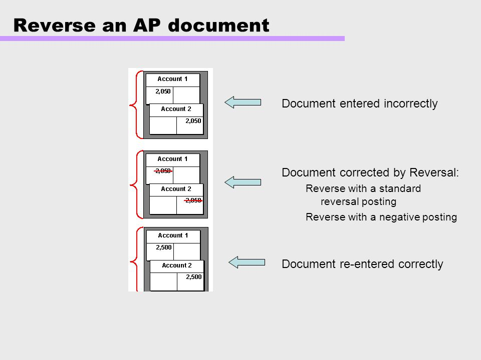 Reverse an AP document Document entered incorrectly