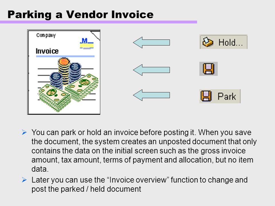 Parking a Vendor Invoice