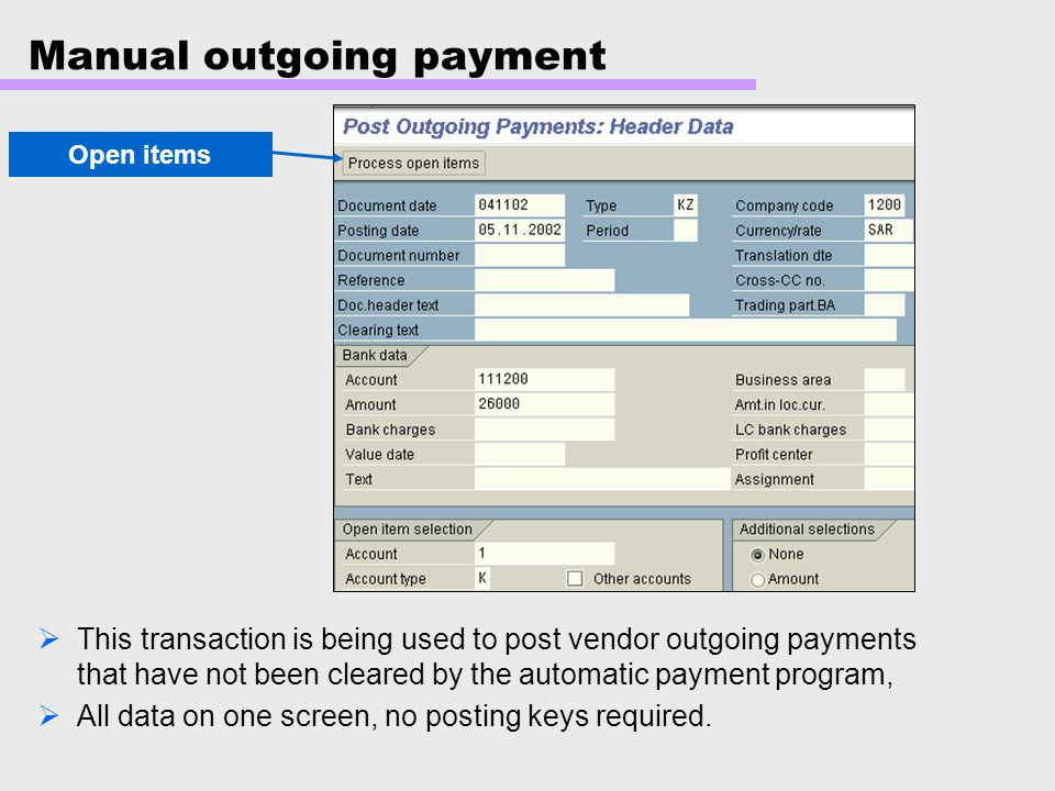 Manual outgoing payment