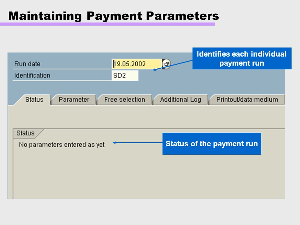 Maintaining Payment Parameters